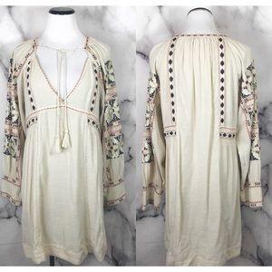 •Free People• Cream V Neck Embroider Boho Dress